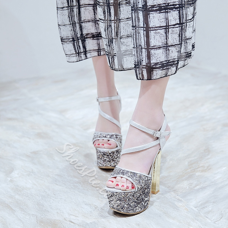 Sequin Platform Color Block Dress Sandals