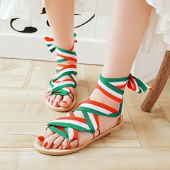 Lace-Up Flat Sandals Summer Ankle Strap Women's Shoes