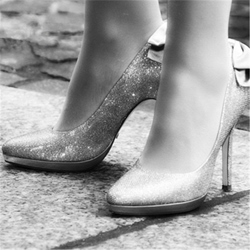 Silver Sequin Stiletto Heel Wedding Shoes