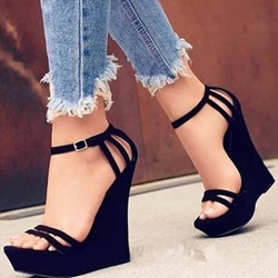 Black Open Toe Line-Style Buckle Wedges