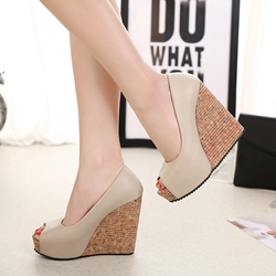 Peep Toe Plain Slip On Women's Wedges