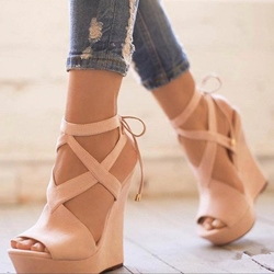 e12c46a8cf8c Plain Peep Toe Lace-Up Wedge Sandals