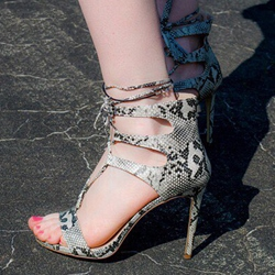 Open Toe Serpentine Stiletto Heel Sandals