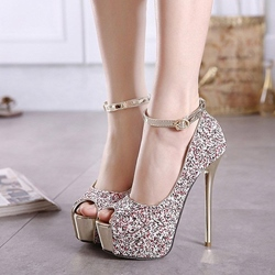 Sequin Peep Toe Platform Stiletto Heels shoespie
