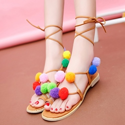 Summer Flat Sandals Lace-Up Colorful Pompon Women's Shoes