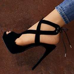 Black Lace-Up Stiletto Heel Sandals