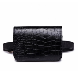 Shoespie Classic Croco-Embossed Plain Women Waist Pack