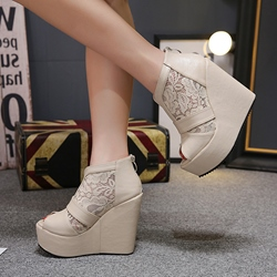 Patchwork Lace Peep Toe Women's Wedges