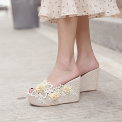 Summer Floral Wedge Heel Sandals Slip-On Appliques Platform Flip Flop