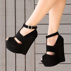 Black T-Shaped Buckle Wedge Heels