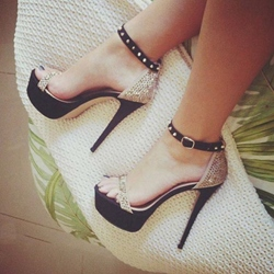 Black Rivet Open Toe Stiletto Heel Sandals