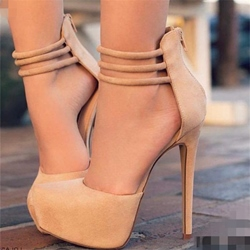 Round Toe Line-Style Buckle Stiletto Heel Pumps