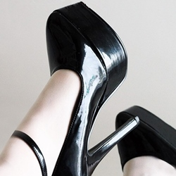 Black Line-Style Buckle Platform Stiletto Heels