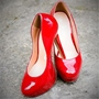 Red Round Toe Stiletto Heel Pumps