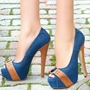 Blue Denim Peep Toe Stiletto Heel Pumps
