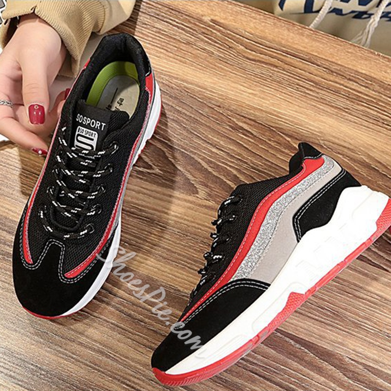 Sequin Lace Up Women's Sneakers