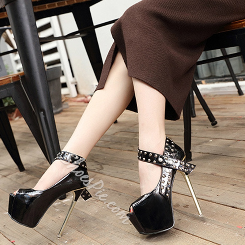 Rivet Plain Platform Peep Toe Stiletto Heels
