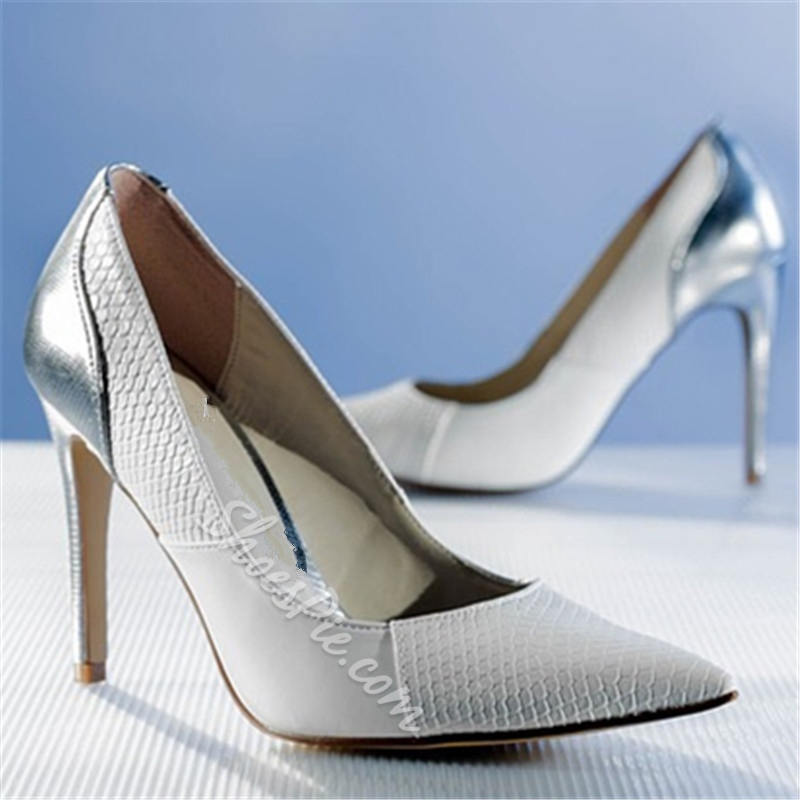 White Slip-On Stiletto Heel Wedding Shoes
