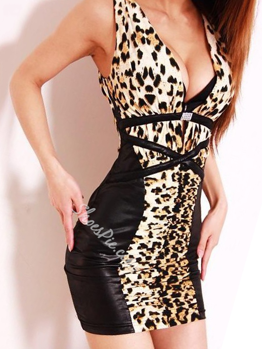 Leopard Bodycon Dresses Backless V-Neck Sleeveless