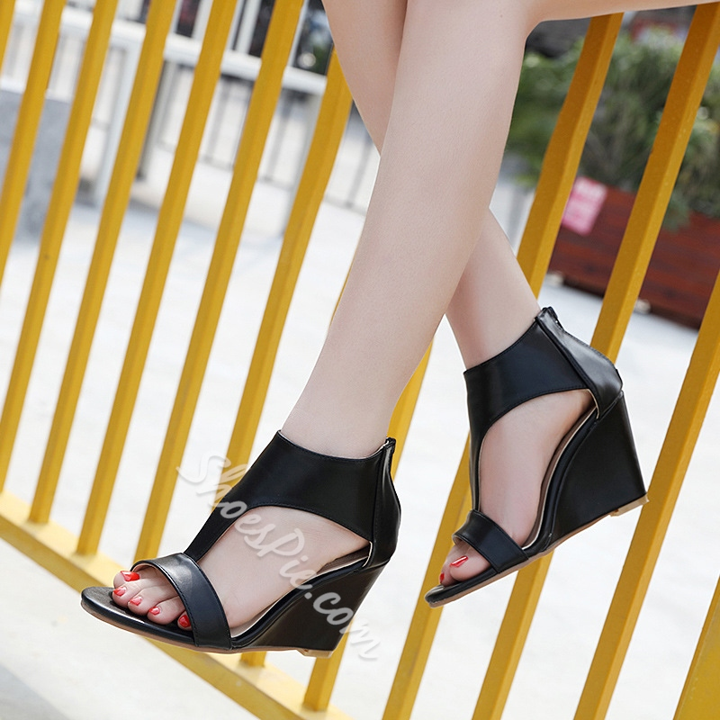Open Toe Heel Covering Women's Wedges