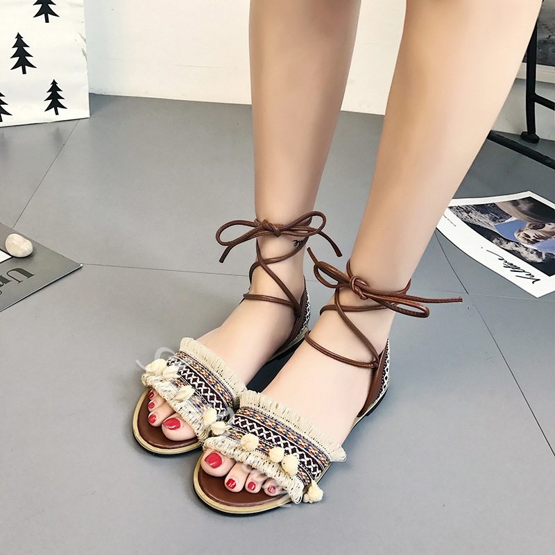 Summer Flat Sandals Fringe Lace-Up Women's Shoes