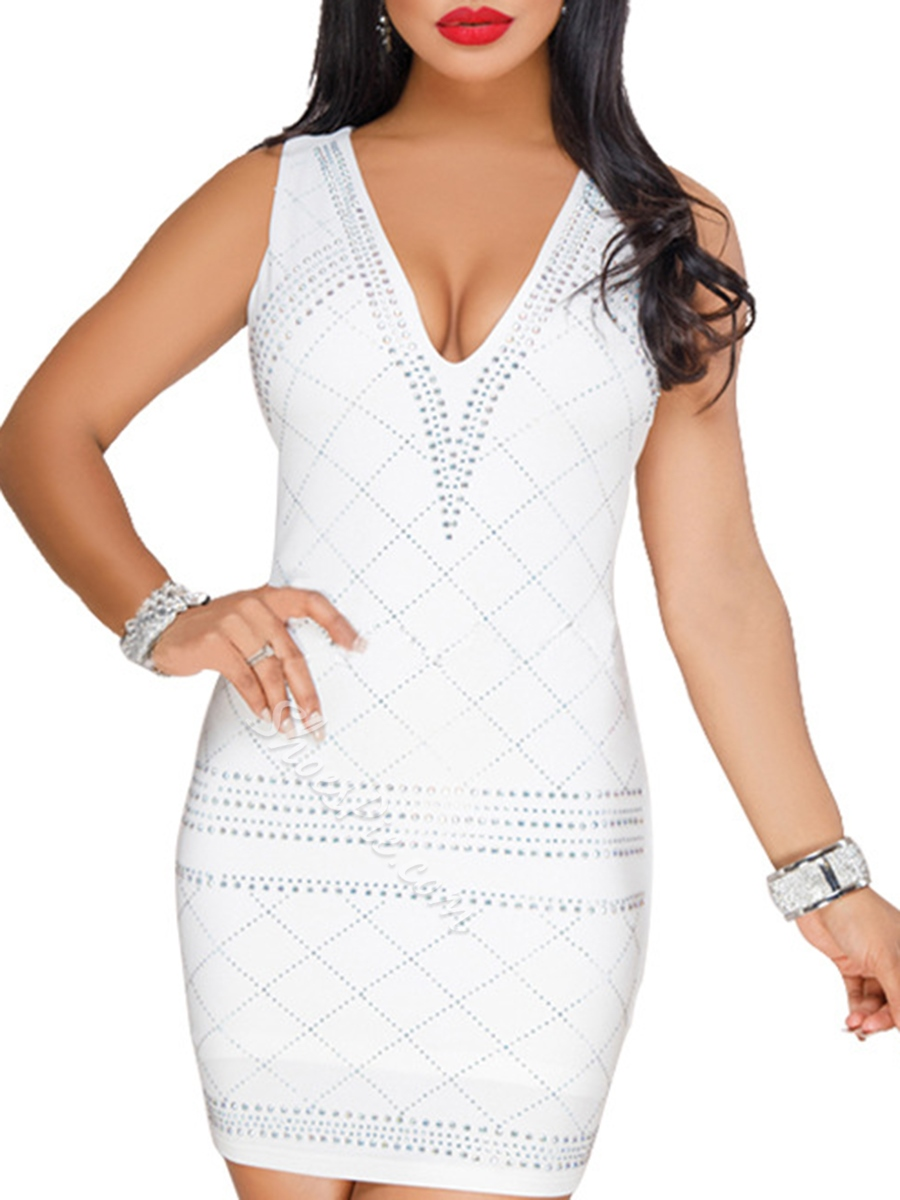Shoespie V Neck Pullover Off White Women' Bodycon Dress