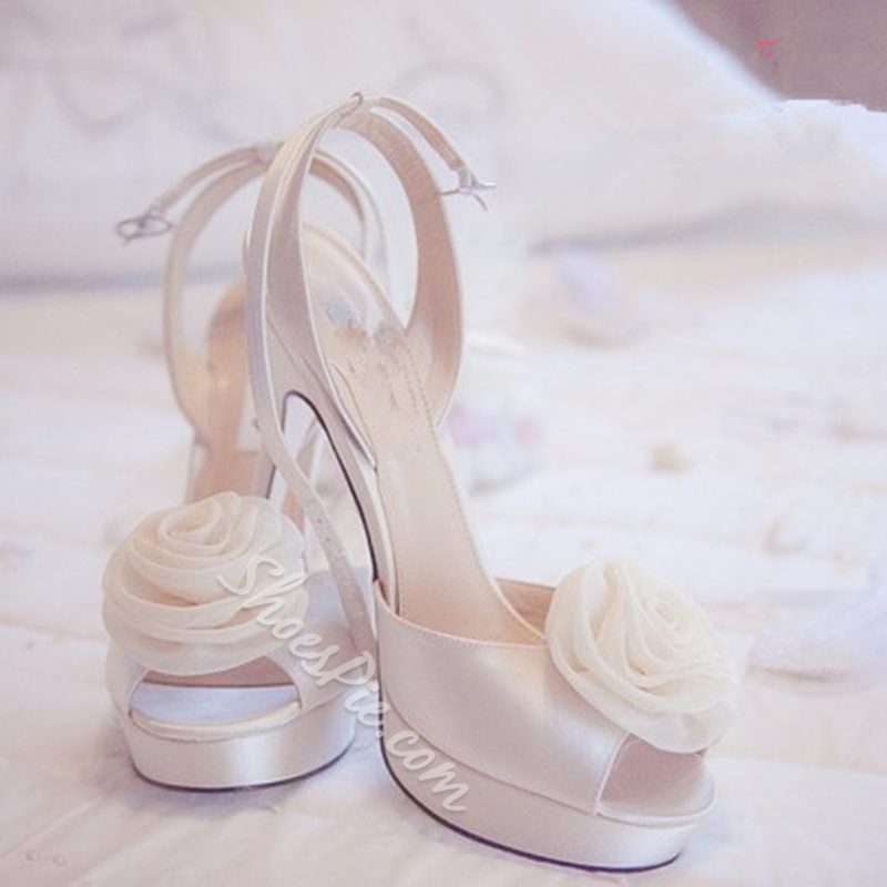 White Peep Toe Floral Wedding Shoes