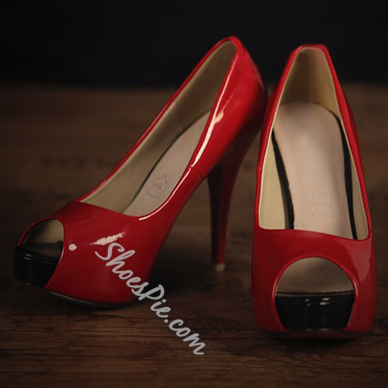 Red Peep Toe Stiletto Heel Pumps