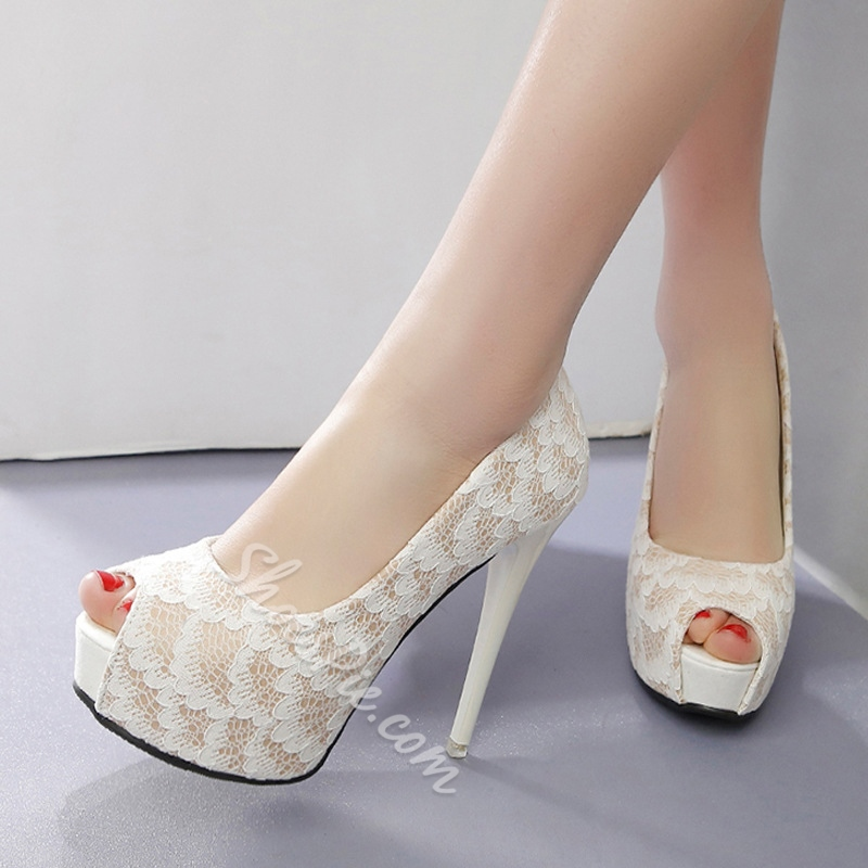 Slip-On High Stiletto Heel Wedding Shoes