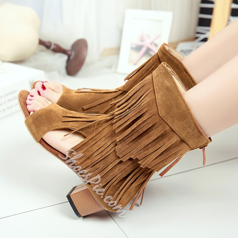 Dress Sandals Fringe Chunky Heel Women's Shoes
