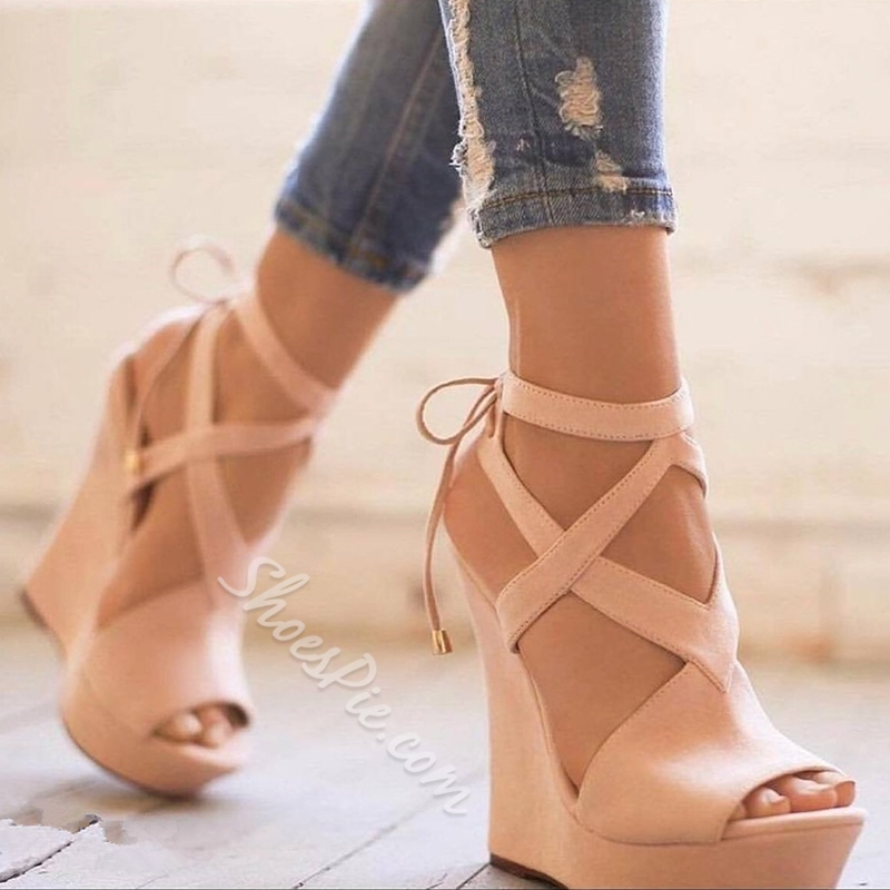 Plain Peep Toe Lace-Up Wedge Sandals