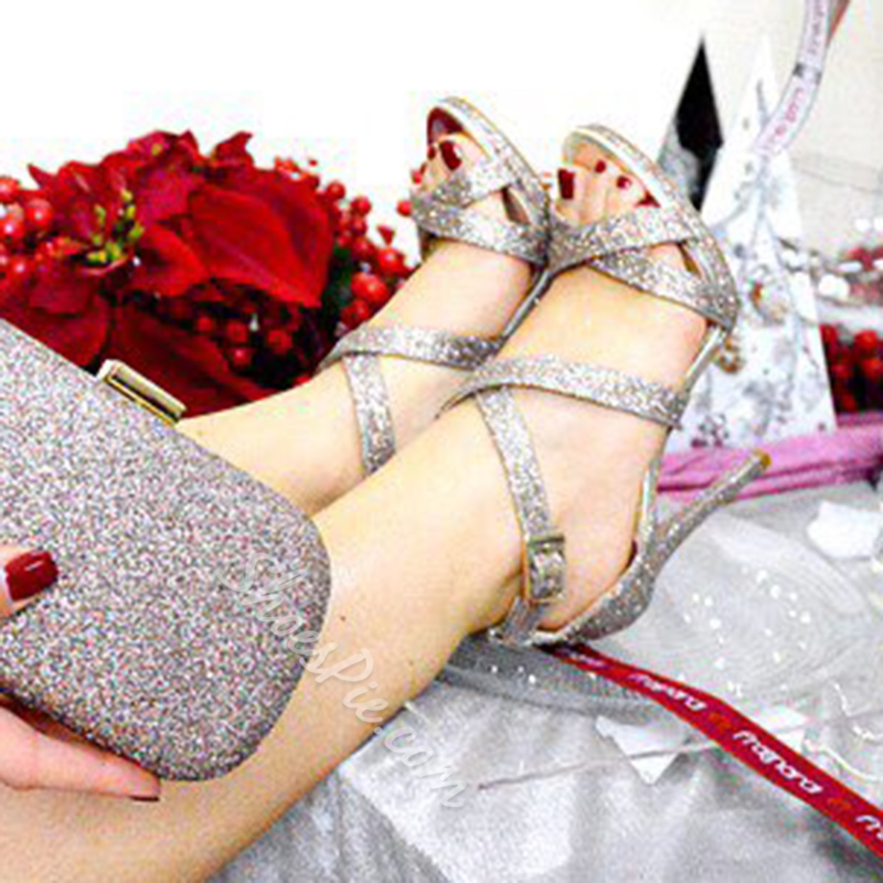 Sequin Open Toe Stiletto Heel Sandals