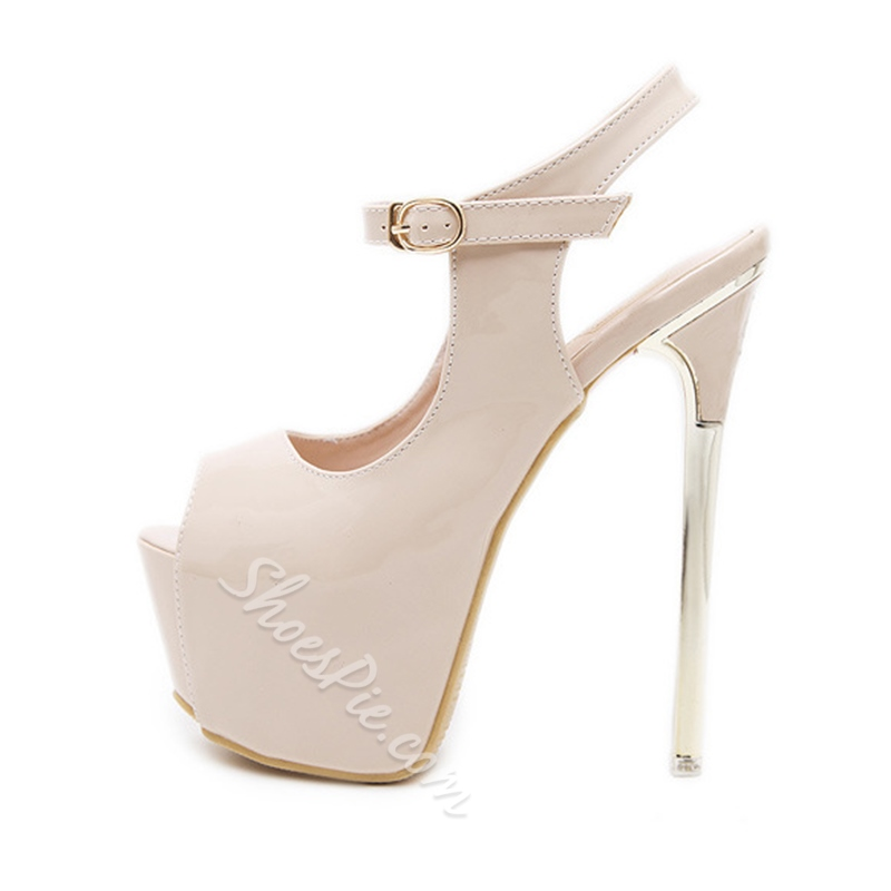 Plain Peep Toe Extreme High Stiletto Heels
