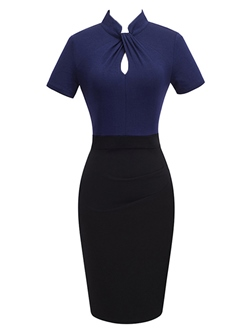 Shoespie Color Block Stand Collar Women's Sheath Dress