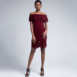Lace Off-The-Shoulder Bodycon Dresses Falbala Hollow
