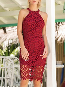 Sexy Red Hollow Weddingg Bodycon Dresses