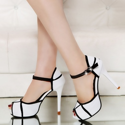 Color Block Peep Toe Platform Stiletto Heels shoespie