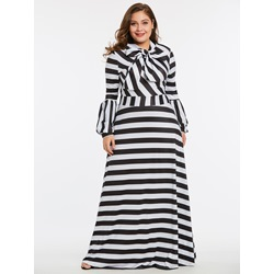 Shoespie Color Block Polyester Plusee Women's Maxi Dress