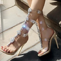 Dress Sandals Sexy Lace-Up Rhinestone Banquet Ultra-High Heel