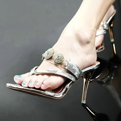 Sexy Dress Sandals Rhinestone Sequin Thong Slip-On Stiletto Heel