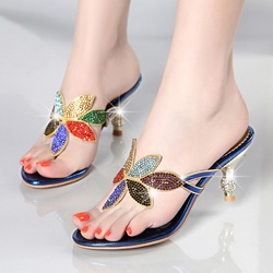 Summer Dress Sandals Sweet Spool Heel Slip-On Shoes
