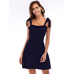 Bodycon Dresses Lace-Up Button Sleeveless