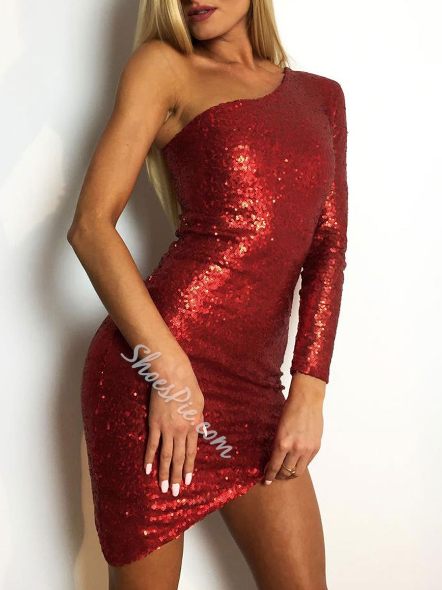 Asymmetric Sequins Bodycon Dresses One-Shoulder