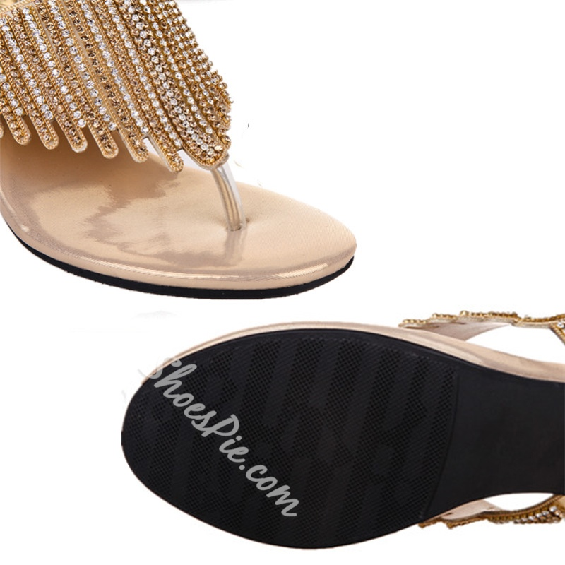 Summer Dress Sandals Spool Heel Rhinestone Slip-On Women's Shoes