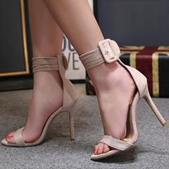 Summer Stiletto Heel Line-Style Buckle Dress Sandals