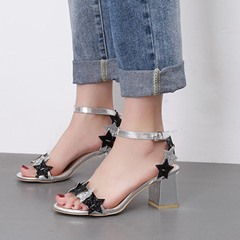 Chunky Heel Sequin Ankle Strap Star Dress Sandals