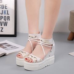 Embroidery Open Toe High Upper Wedge Sandals
