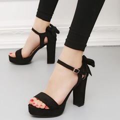 Summer Bowknot Platform Chunky Heel Dress Sandals