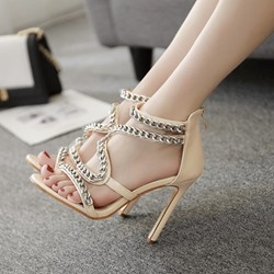 Chain Zipper Open Toe Stiletto Sandals