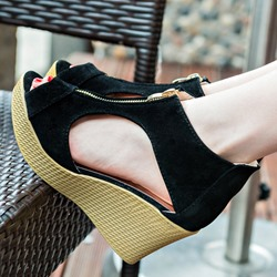 Peep Toe Platform Wedge Heel Sandals